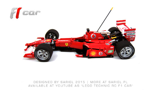 Model of modern f1 car inspired by ferrari 248 features rwd steering suspension 2 speed transmission and custom stickers